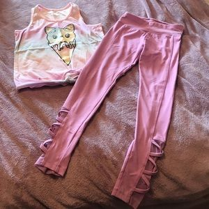 😺Cute yoga set. Kitty tank top and yoga pants.